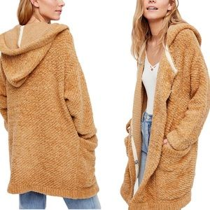 Free People Warm Wishes Teddy Sweater Jacket Sand